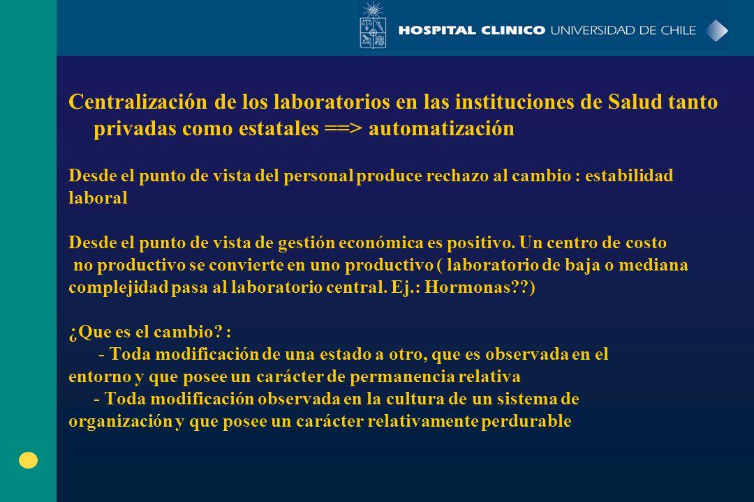 Centralización de los laboratorios en las instituciones de Salud tanto privadas como estatales ==> automatización