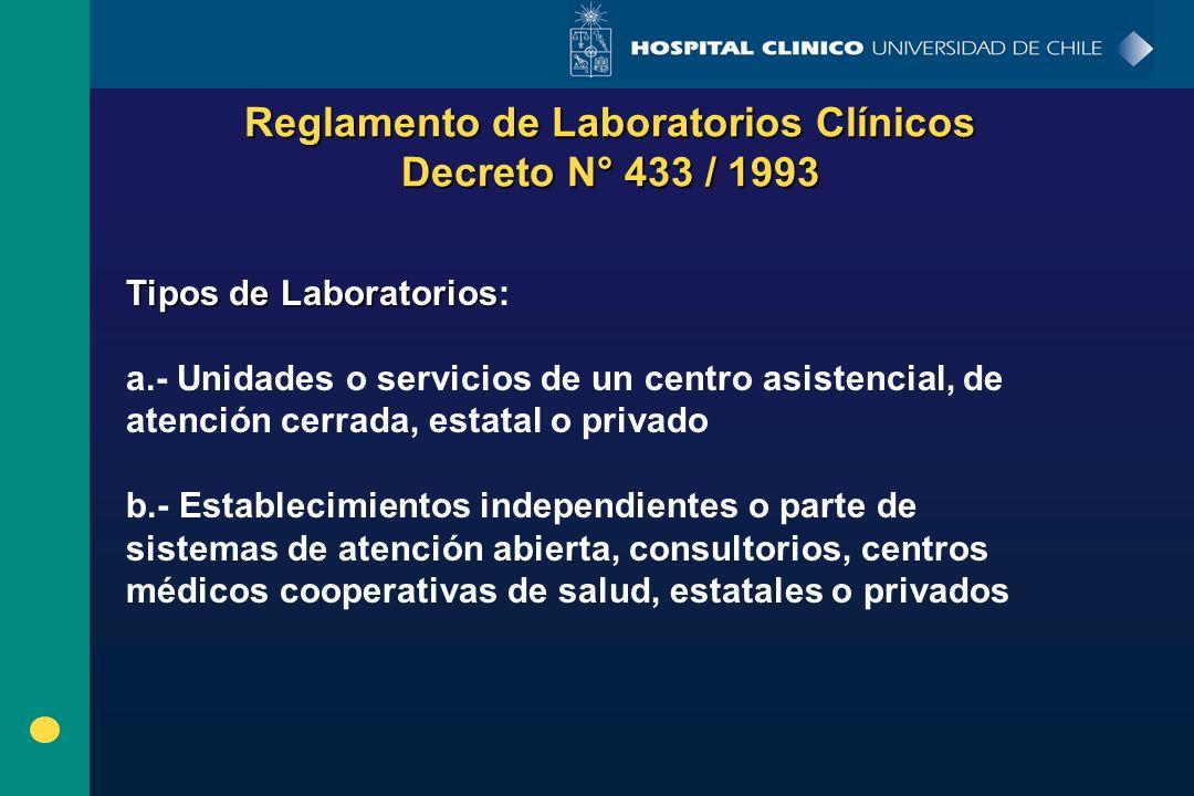 Reglamento de Laboratorios Clínicos Decreto N° 433 / 1993