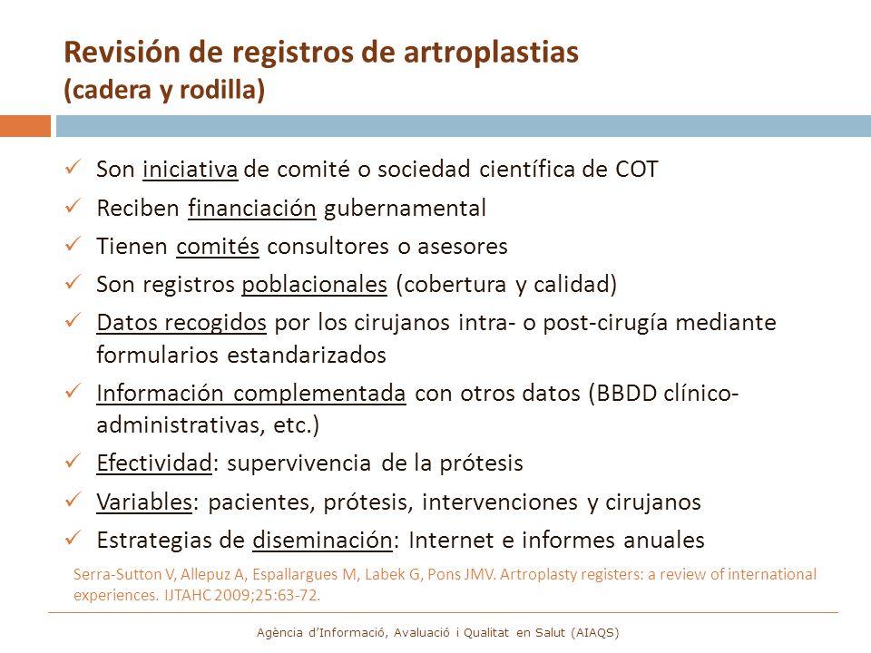 Revisión de registros de artroplastias (cadera y rodilla)
