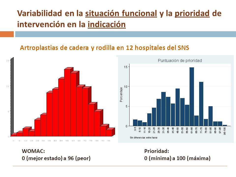 Variabilidad en la situación funcional y la prioridad de intervención en la indicación