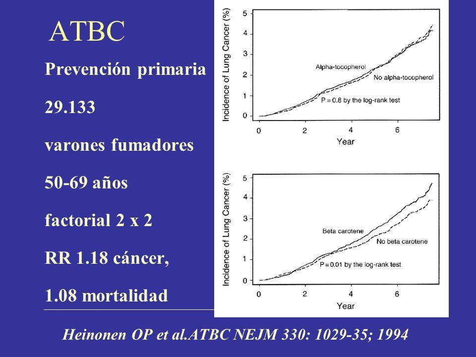 ATBC Prevención primaria 29.133 varones fumadores 50-69 años
