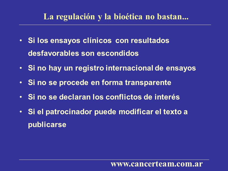 La regulación y la bioética no bastan...