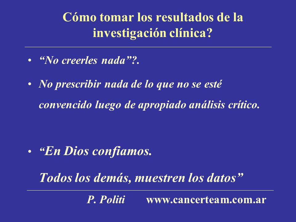 Cómo tomar los resultados de la investigación clínica