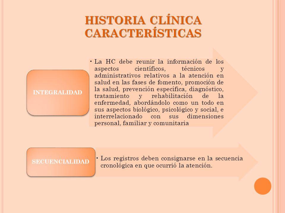HISTORIA CLÍNICA CARACTERÍSTICAS