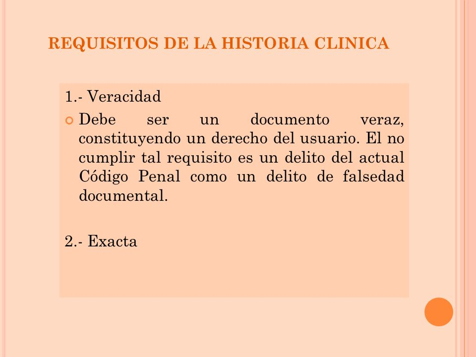 REQUISITOS DE LA HISTORIA CLINICA