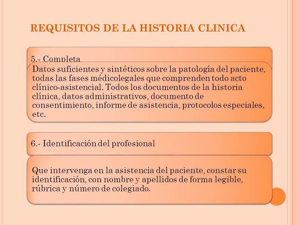 REQUISITOS DE LA HISTORIA CLINICA