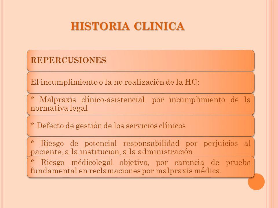 HISTORIA CLINICA REPERCUSIONES