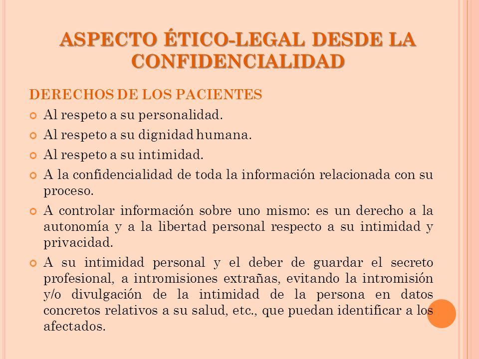 ASPECTO ÉTICO-LEGAL DESDE LA CONFIDENCIALIDAD