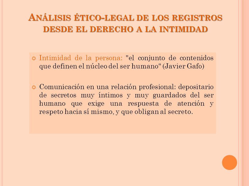 Análisis ético-legal de los registros desde el derecho a la intimidad