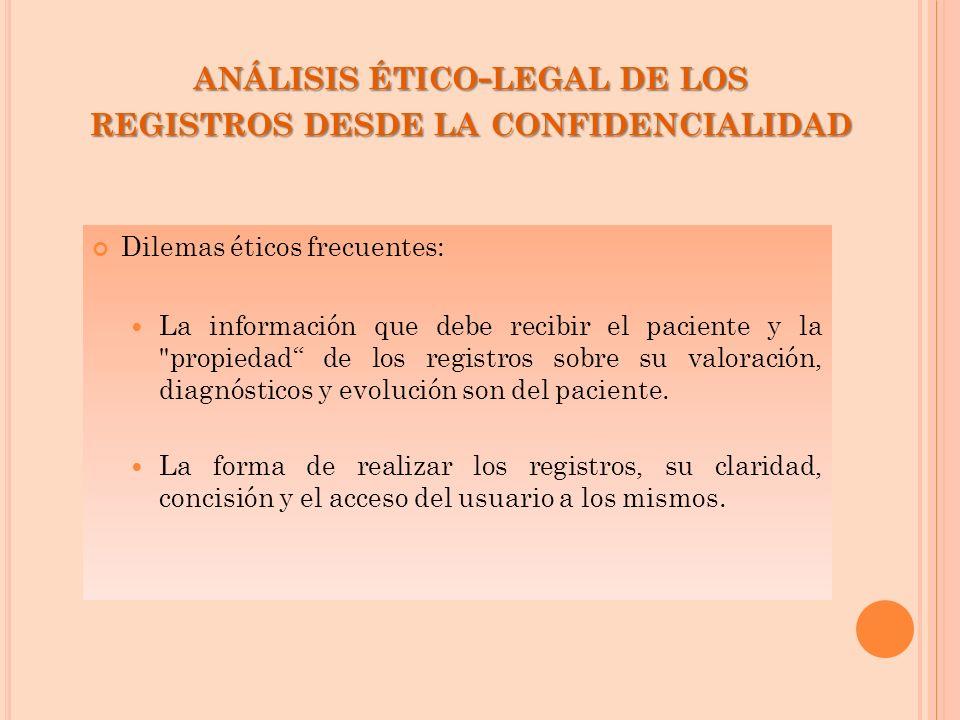 análisis ético-legal de los registros desde la confidencialidad