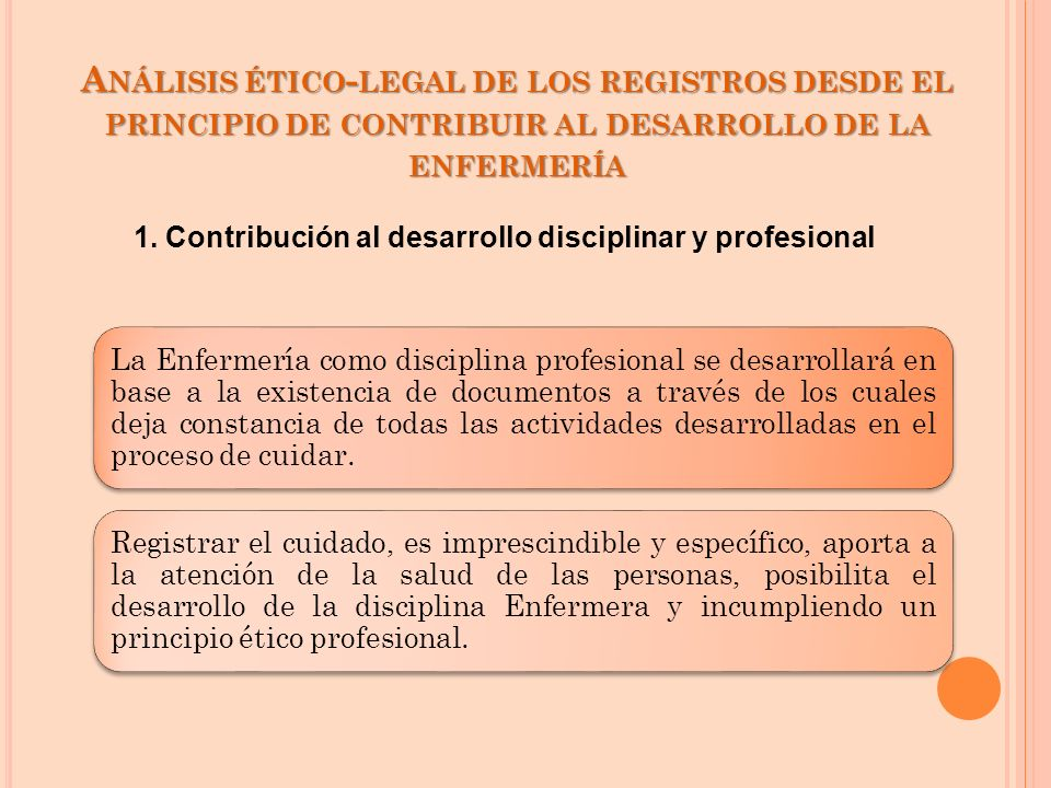 Análisis ético-legal de los registros desde el principio de contribuir al desarrollo de la enfermería