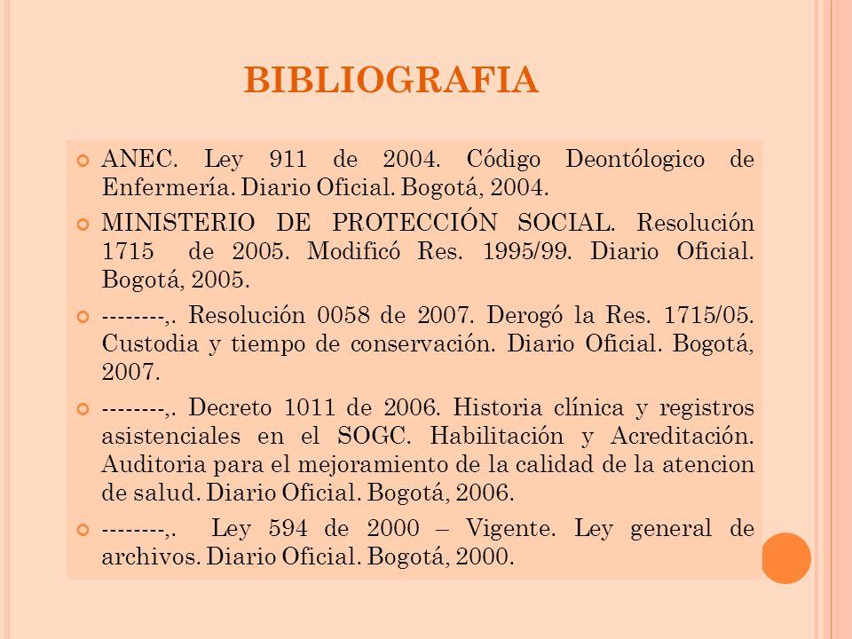 BIBLIOGRAFIA ANEC. Ley 911 de 2004. Código Deontólogico de Enfermería. Diario Oficial. Bogotá, 2004.