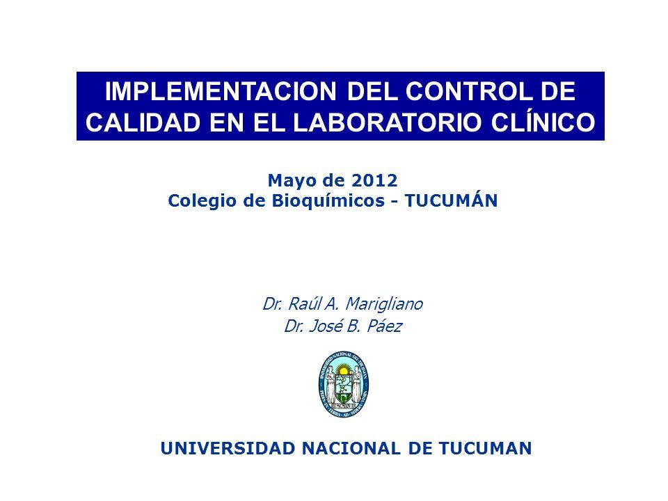 IMPLEMENTACION DEL CONTROL DE CALIDAD EN EL LABORATORIO CLÍNICO