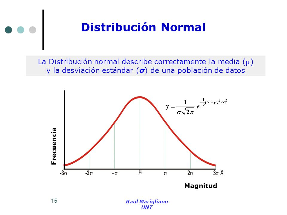 Distribución Normal La Distribución normal describe correctamente la media () y la desviación estándar (σ) de una población de datos.