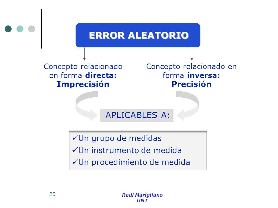 ERROR ALEATORIO APLICABLES A: Precisión Un grupo de medidas
