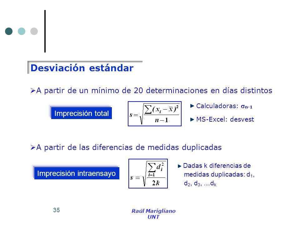 Desviación estándar Calculadoras: n-1. MS-Excel: desvest. A partir de un mínimo de 20 determinaciones en días distintos.