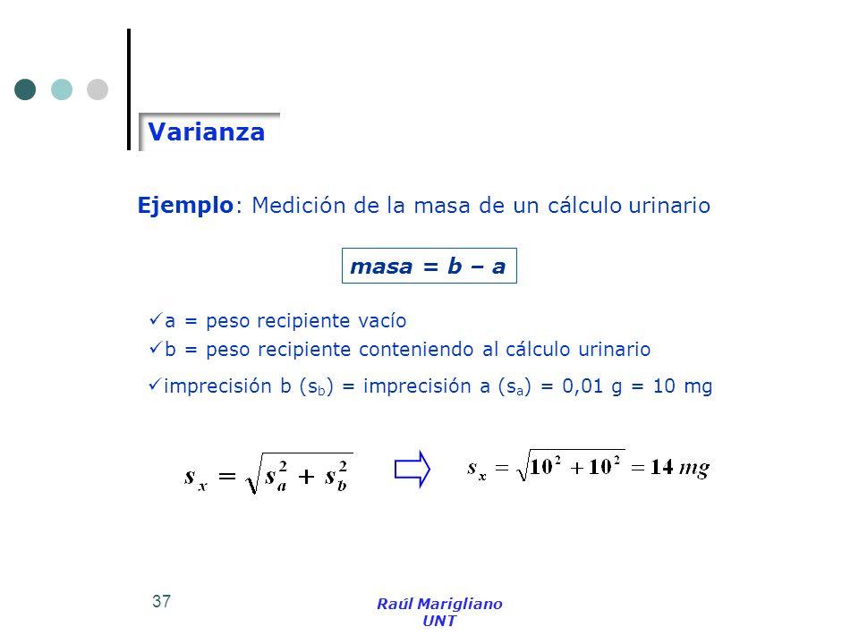 Varianza Ejemplo: Medición de la masa de un cálculo urinario
