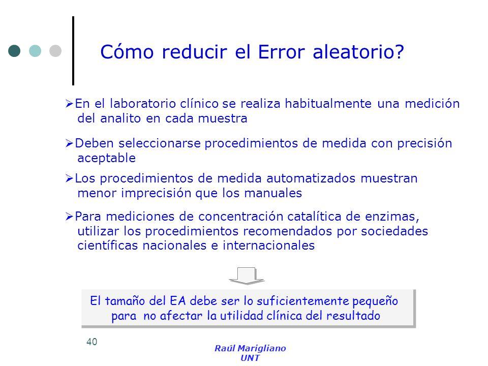 Cómo reducir el Error aleatorio