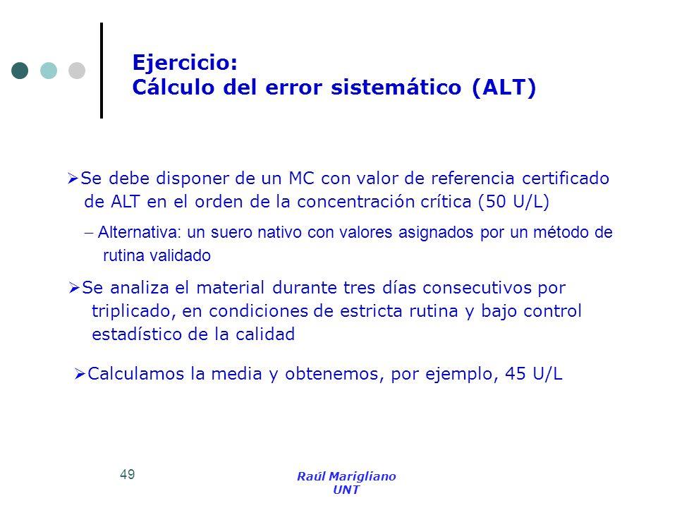 Cálculo del error sistemático (ALT)