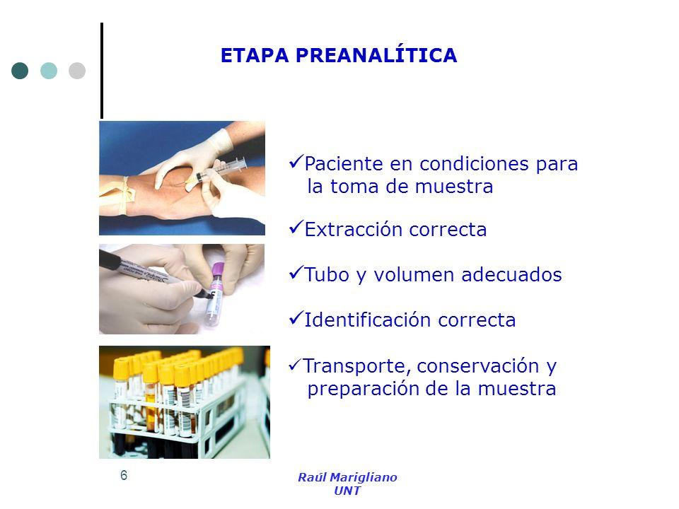 Paciente en condiciones para la toma de muestra