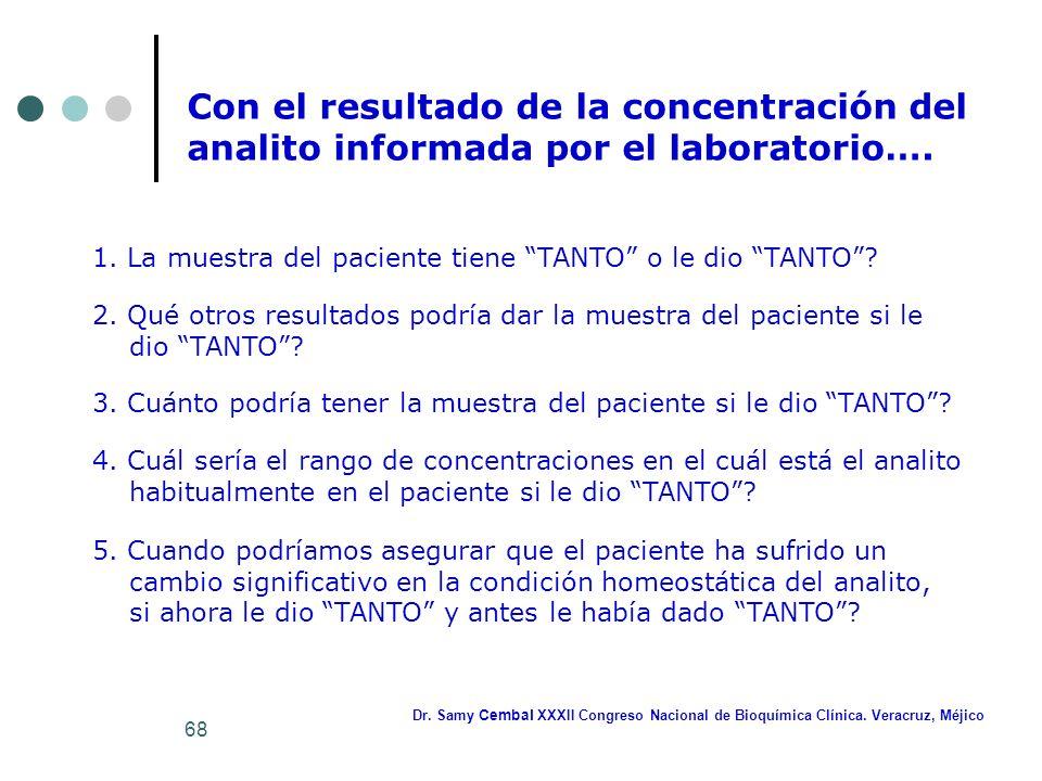 Con el resultado de la concentración del analito informada por el laboratorio….