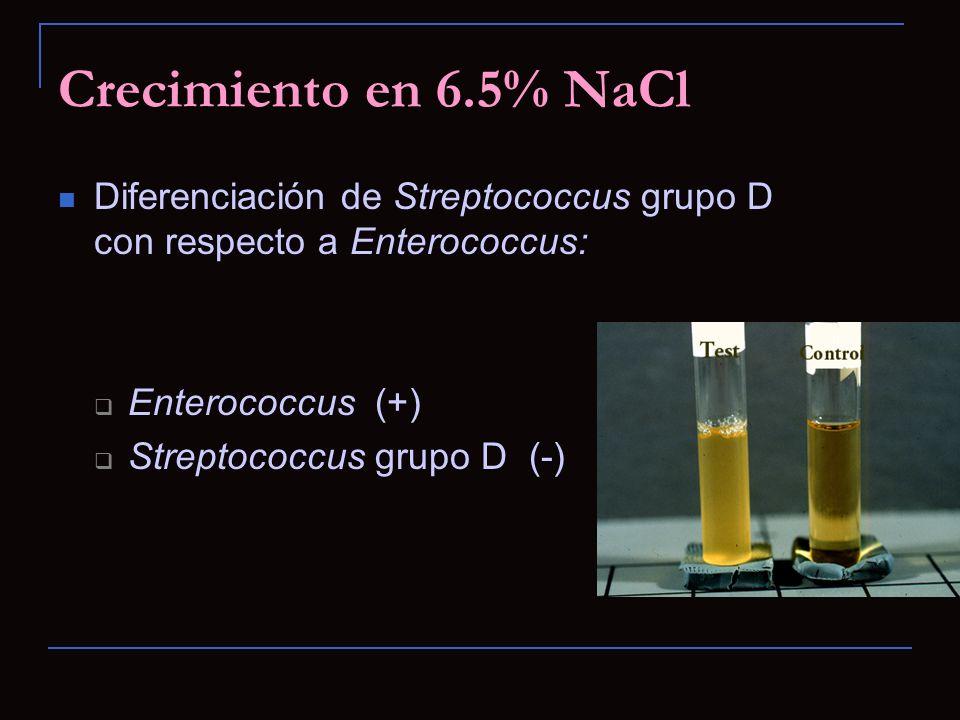 Crecimiento en 6.5% NaCl Diferenciación de Streptococcus grupo D con respecto a Enterococcus: Enterococcus (+)