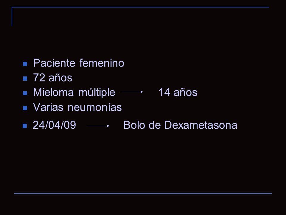 Paciente femenino 72 años. Mieloma múltiple 14 años.