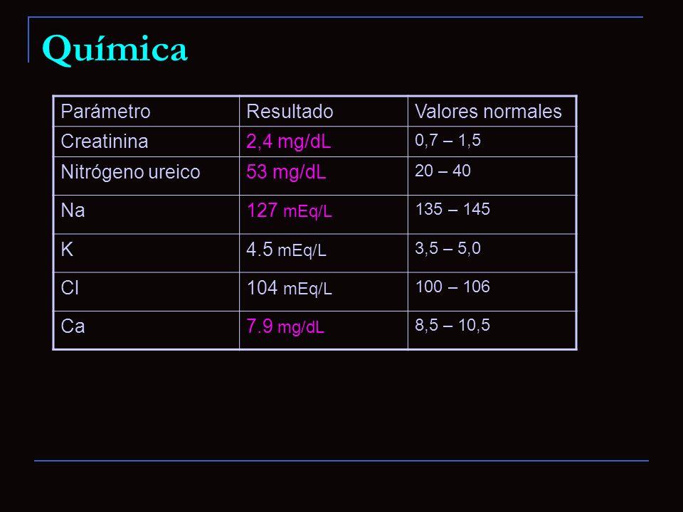 Química Parámetro Resultado Valores normales Creatinina 2,4 mg/dL