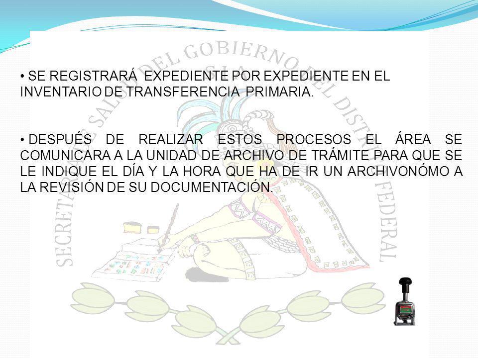 SE REGISTRARÁ EXPEDIENTE POR EXPEDIENTE EN EL INVENTARIO DE TRANSFERENCIA PRIMARIA.