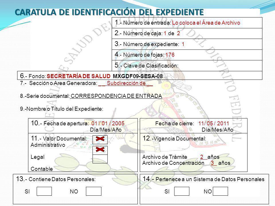 CARATULA DE IDENTIFICACIÓN DEL EXPEDIENTE