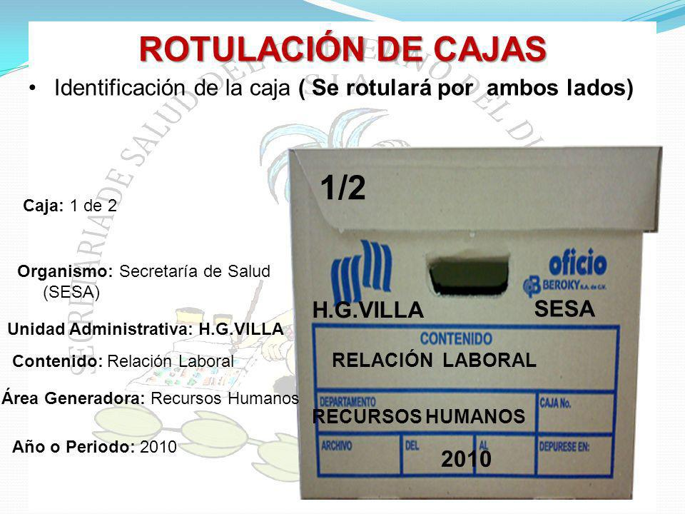 ROTULACIÓN DE CAJAS Identificación de la caja ( Se rotulará por ambos lados) SESA. RELACIÓN LABORAL.