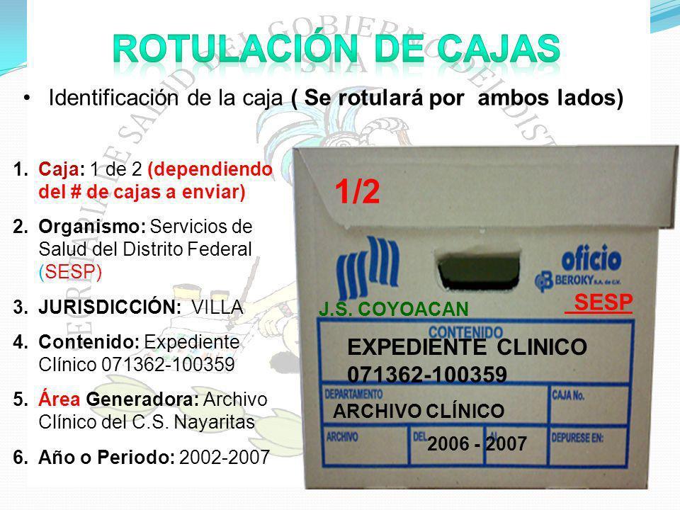 ROTULACIÓN DE CAJAS Identificación de la caja ( Se rotulará por ambos lados) SESP. EXPEDIENTE CLINICO 071362-100359.