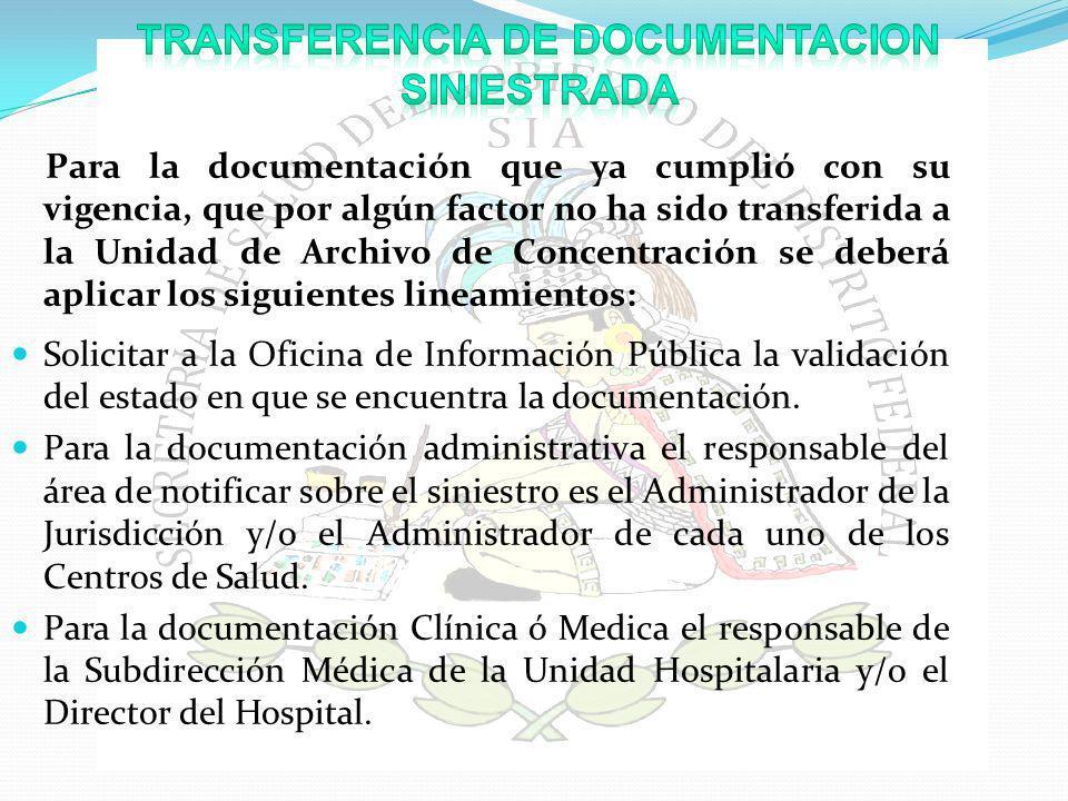 TRANSFERENCIA DE DOCUMENTACION SINIESTRADA