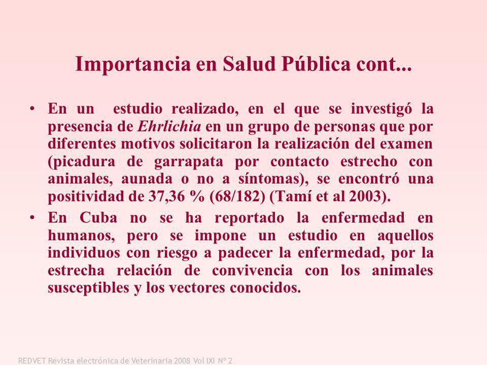 Importancia en Salud Pública cont...