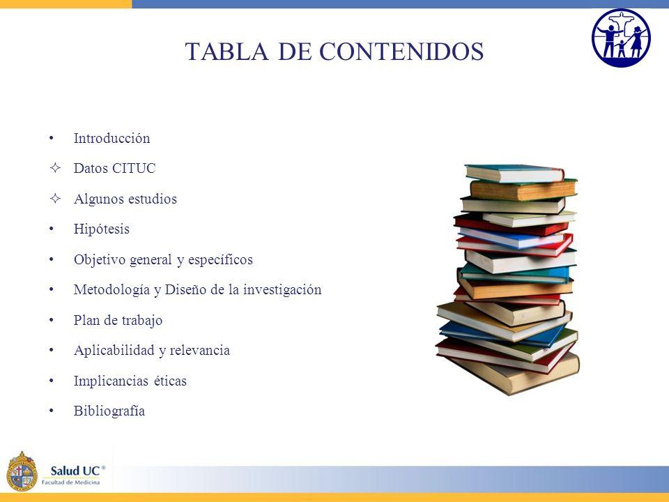 TABLA DE CONTENIDOS Introducción Datos CITUC Algunos estudios