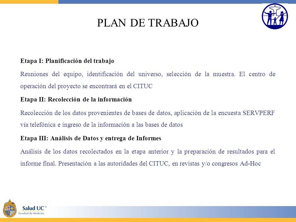 PLAN DE TRABAJO Etapa I: Planificación del trabajo