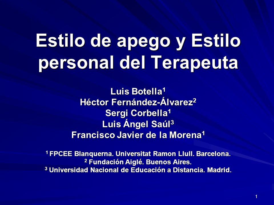 Estilo de apego y Estilo personal del Terapeuta Luis Botella1 Héctor Fernández-Álvarez2 Sergi Corbella1 Luis Ángel Saúl3 Francisco Javier de la Morena1 1 FPCEE Blanquerna.