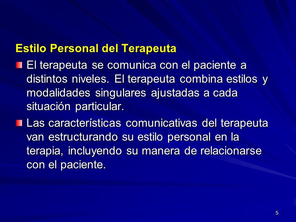 Estilo Personal del Terapeuta
