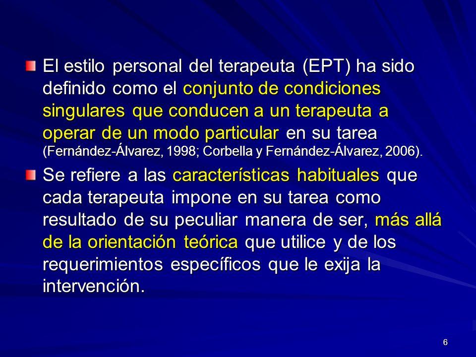 El estilo personal del terapeuta (EPT) ha sido definido como el conjunto de condiciones singulares que conducen a un terapeuta a operar de un modo particular en su tarea (Fernández-Álvarez, 1998; Corbella y Fernández-Álvarez, 2006).