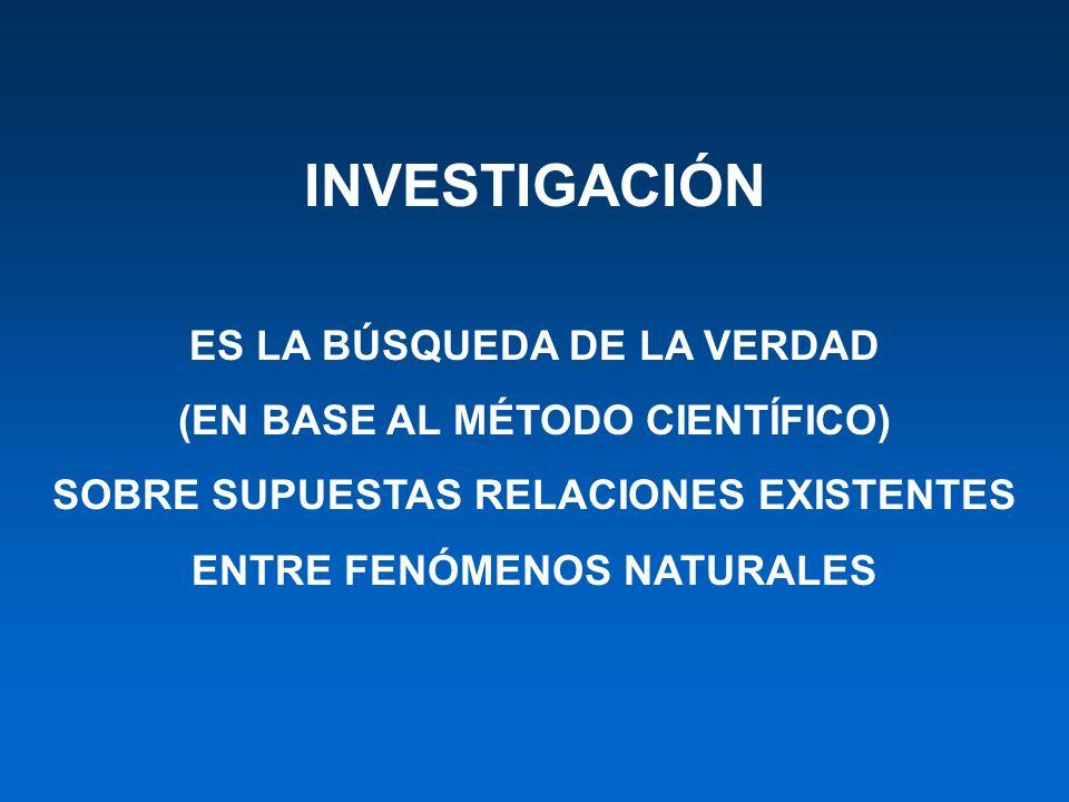 INVESTIGACIÓN ES LA BÚSQUEDA DE LA VERDAD