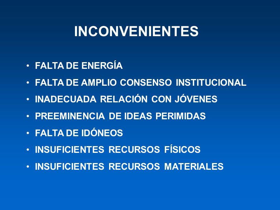 INCONVENIENTES FALTA DE ENERGÍA FALTA DE AMPLIO CONSENSO INSTITUCIONAL