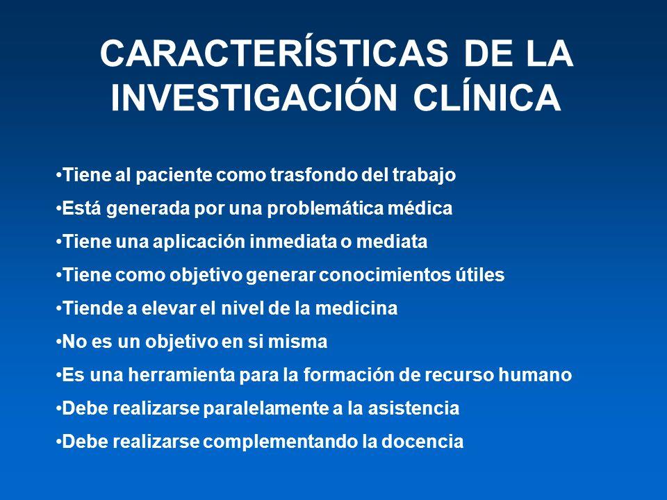 CARACTERÍSTICAS DE LA INVESTIGACIÓN CLÍNICA