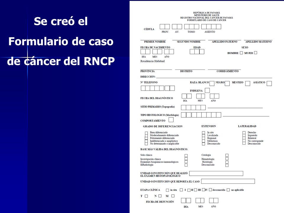 Se creó el Formulario de caso de cáncer del RNCP