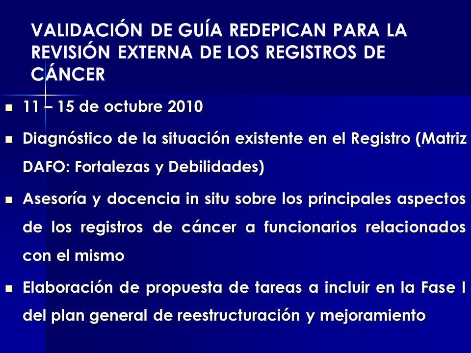 VALIDACIÓN DE GUÍA REDEPICAN PARA LA REVISIÓN EXTERNA DE LOS REGISTROS DE CÁNCER