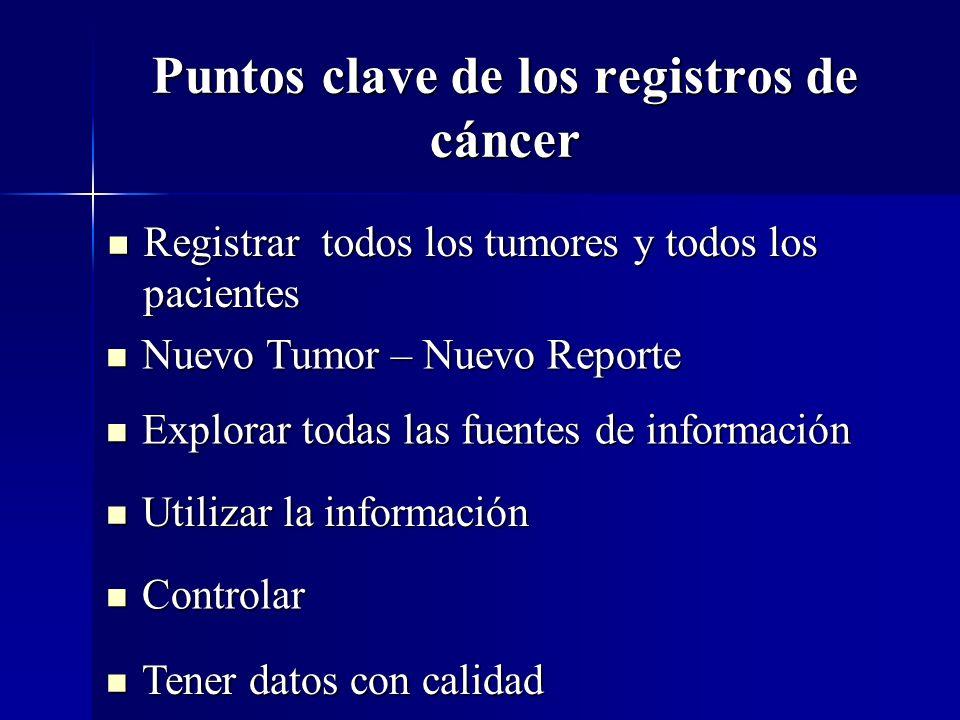 Puntos clave de los registros de cáncer