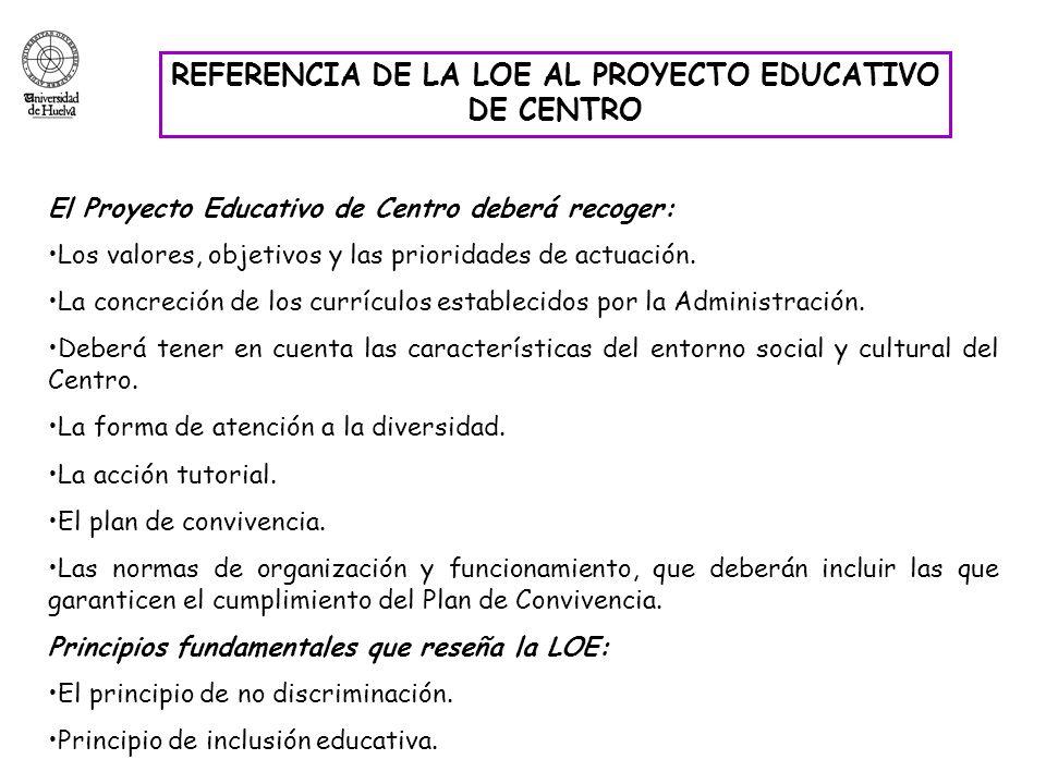 REFERENCIA DE LA LOE AL PROYECTO EDUCATIVO DE CENTRO