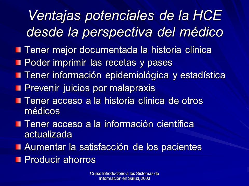 Ventajas potenciales de la HCE desde la perspectiva del médico