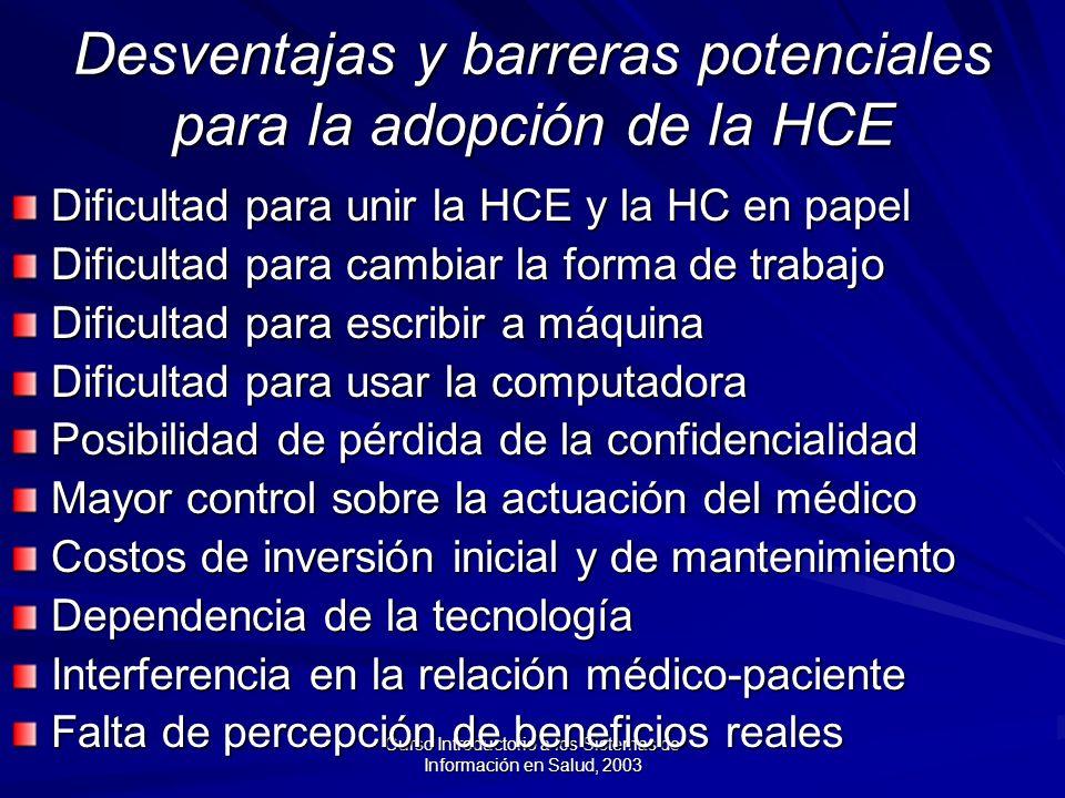 Desventajas y barreras potenciales para la adopción de la HCE