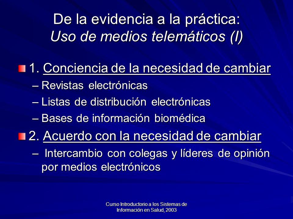 De la evidencia a la práctica: Uso de medios telemáticos (I)