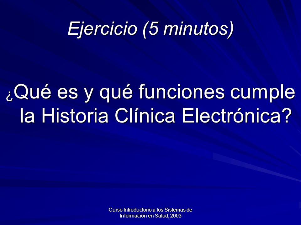 Ejercicio (5 minutos) ¿Qué es y qué funciones cumple la Historia Clínica Electrónica
